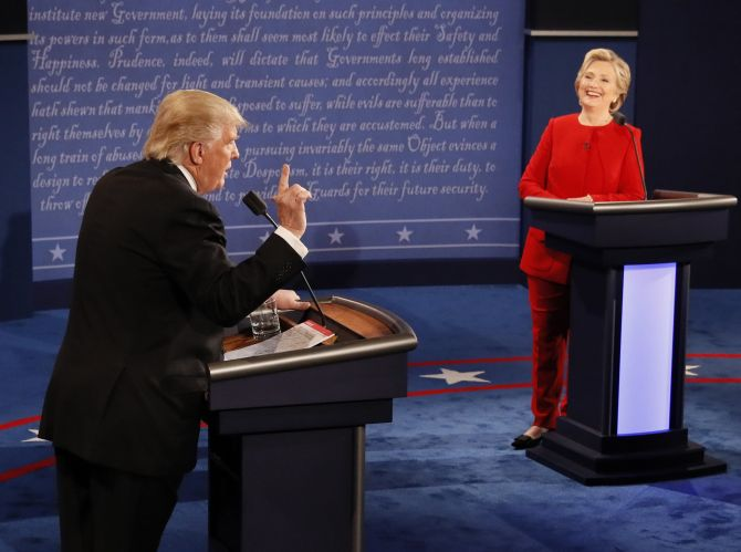 Hillary Clinton and Donald Trump during the first debate