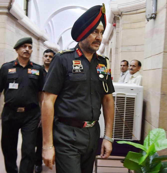 Director General Military Operations Lieutenant General Ranbir Singh arrives to brief the all-party meeting, September 29, 2016. Photograph: PTI Photo