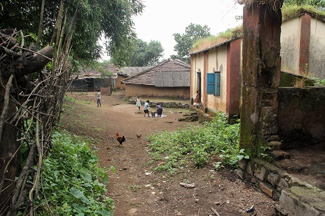 The anganwadi built with the help of government grant under the ICDS is the only concrete structure among the 71 mud-thatched houses in Pimpalwadi