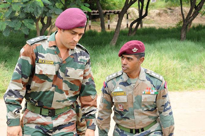 Colonel Mahadik with M S Dhoni