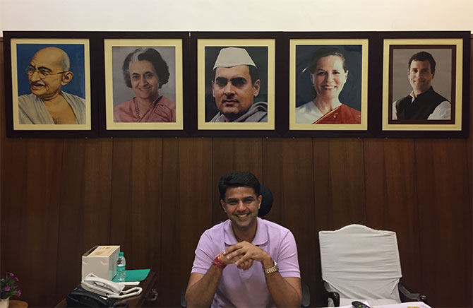Sachin Pilot at the Pradesh Congress Committee office in Jaipur