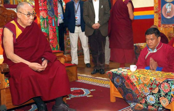 The Dalai Lama with Arunachal Pradesh Chief Minister Pema Khandu at the Thubchog Gatsel Ling monastery in Bomdila, West Kameng district, Arunachal Pradesh, April 2017. Photograph: PTI Photo