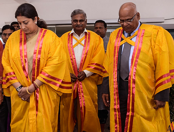 Smriti Irani, left, then the Union HRD minister and the chief guest at IIT- Bhubaneswar's 4th convocation, accompanied by Sushil Kumar Roongta, Chairman, Board of Governors, IIT-Bhubaneswar, right, and Professor. Ratnam V Raja Kumar, Director, IIT- Bhubaneswar, September 12, 2015. Image only published for representational purposes.