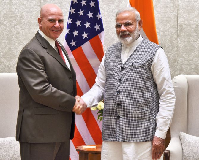 US National Security Adviser Lieutenant General H R McMaster meets Prime Minister Narendra Modi in New Delhi, April 18, 2017.
