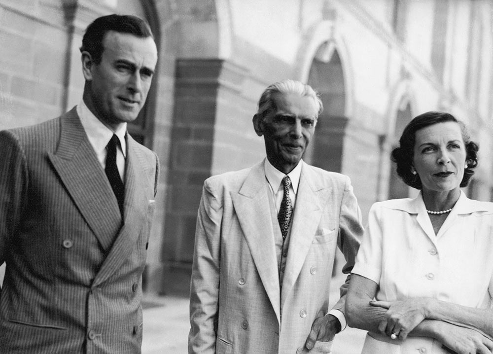 Lord Louis Mountbatten, the viceroy of India and his wife Lady Edwina Mountbatten flank Muslim League leader Mohammad Ali Jinnah at the viceroy's house, now Rashtrapati Bhavan, April 9, 1947. Photograph: Keystone/Hulton Archive/Getty Images