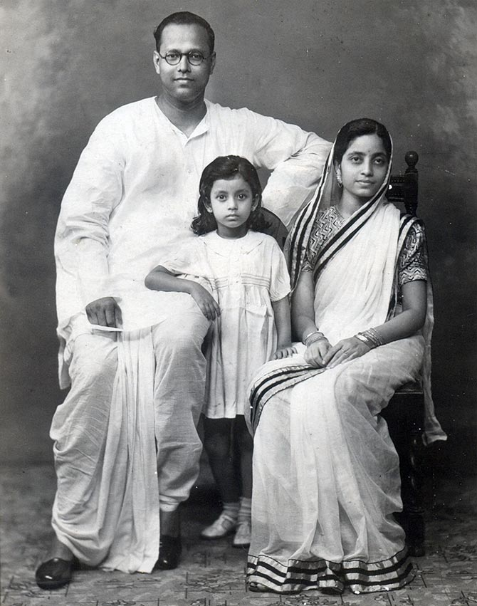 Bharati Dutt as a little girl with her parents