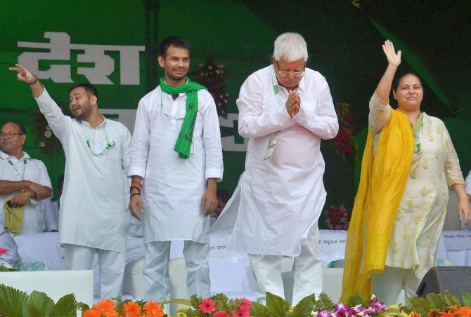 RJD Supremo Lalu Prasad Yadav with his daughter Misa Bharti and sons Tej Pratap and Tejashwi Yadav. The RJD ruled Bihar from 1990 to 2005. Photograph: PTI Photo