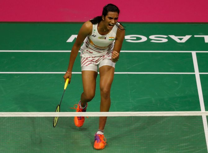 India's P V Sindhu celebrates against China's Chen Yufei in Badminton World Championship in Glasgow