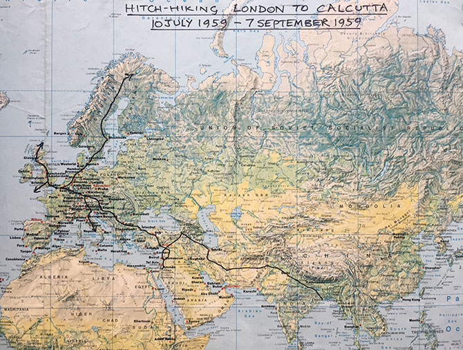 The route map from London to Calcutta