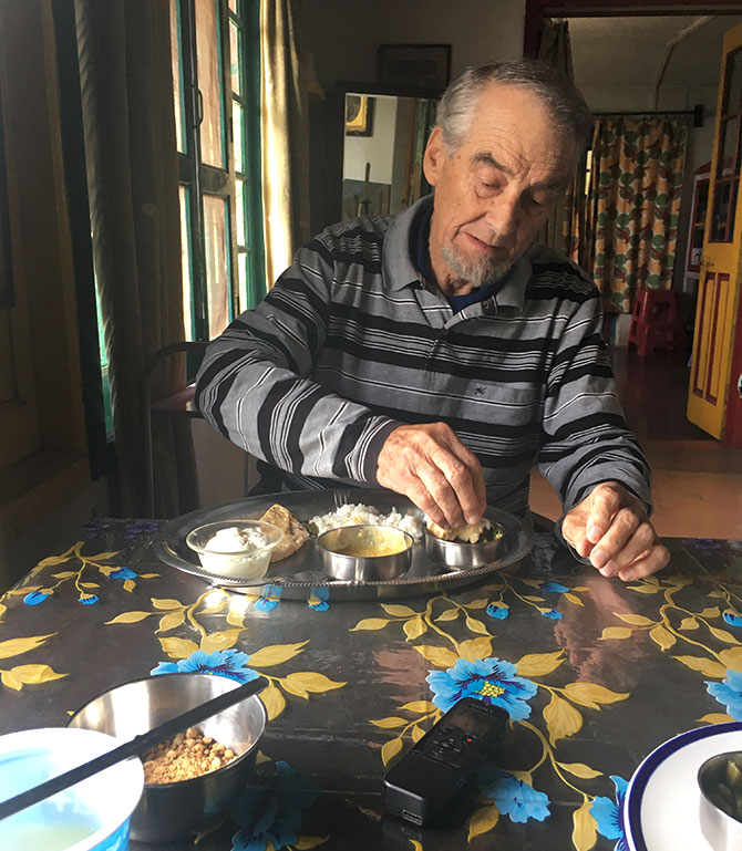 Bill Aitken eats a simple meal of dal bhaat