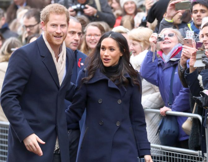 Prince Harry and Meghan step out for first joint royal event