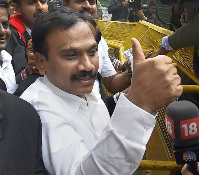 Former telecom minister A Raja gives the thumbs up after he was acquitted by a special court in the 2G scam case. Photograph: Kamal Singh/PTI Photo