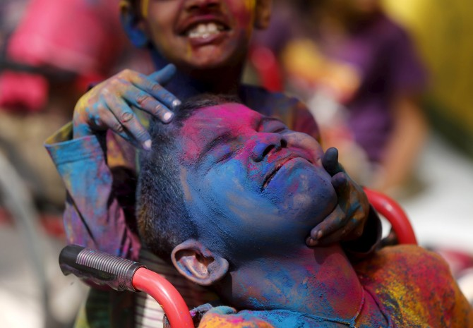 Differently abled children celebrate Holi