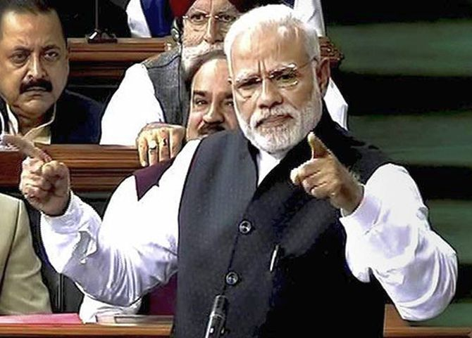 Prime Minister Narendra Modi speaks in Parliament, February 7, 2017