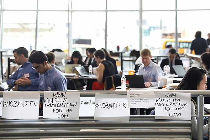 Lawyers at JFK after immigration ban