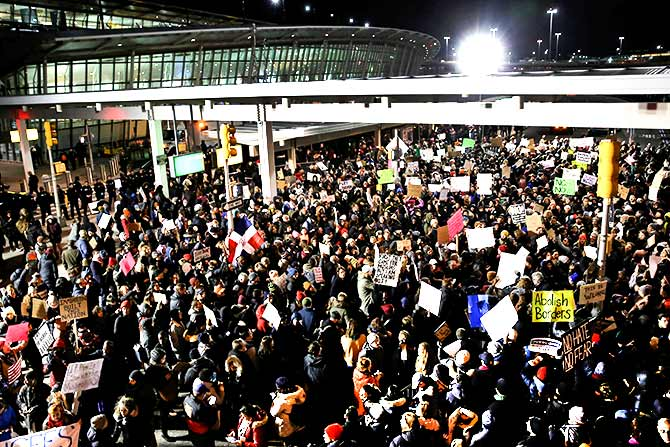 Protest at JFK airport