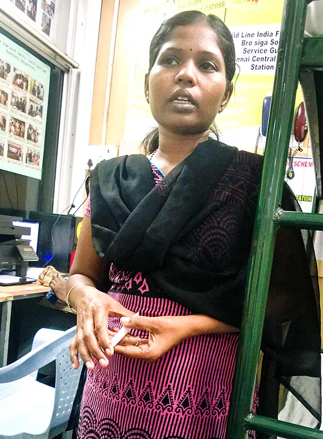A Malini is the ChildLine coordinator at Chennai's Central station.