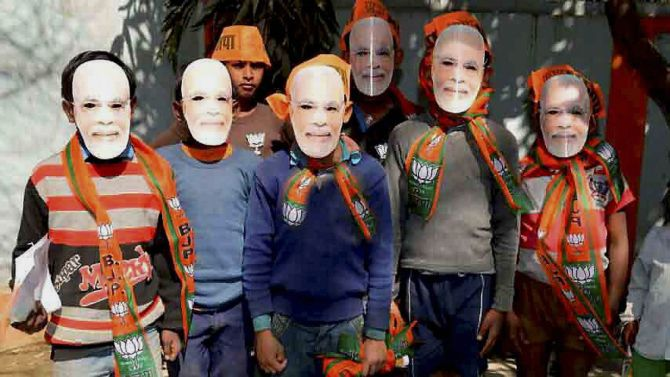 boys with Narendra Modi masks in Allahabad