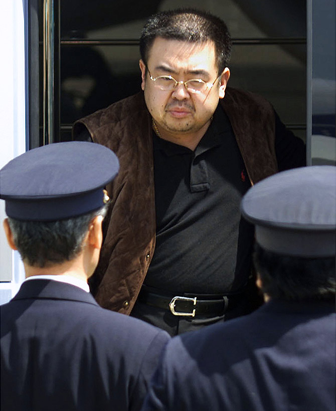 Kim Jong-nam, then North Korea's heir-apparent, about to be deported from Tokyo's Narita international airport, May 4, 2001