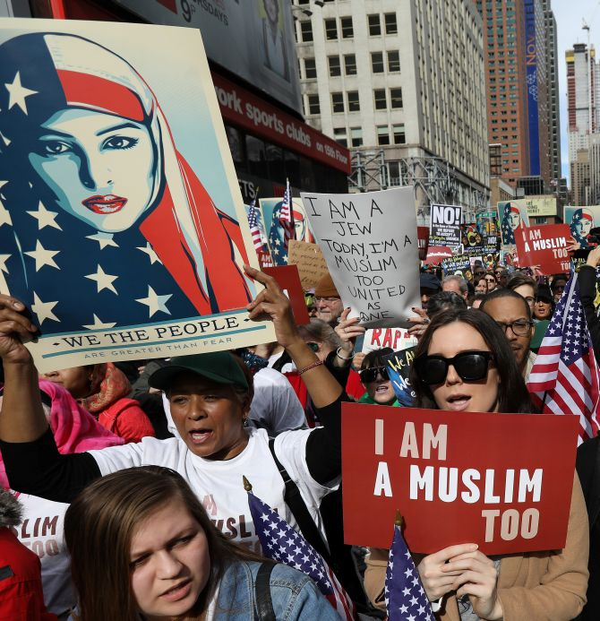 India News - Latest World & Political News - Current News Headlines in India - In New York, protesters take to the streets to say 'I Am Muslim Too'
