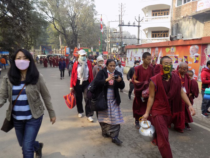 Tibetan devotees in Bodhgaya for the Kalachakra Puja