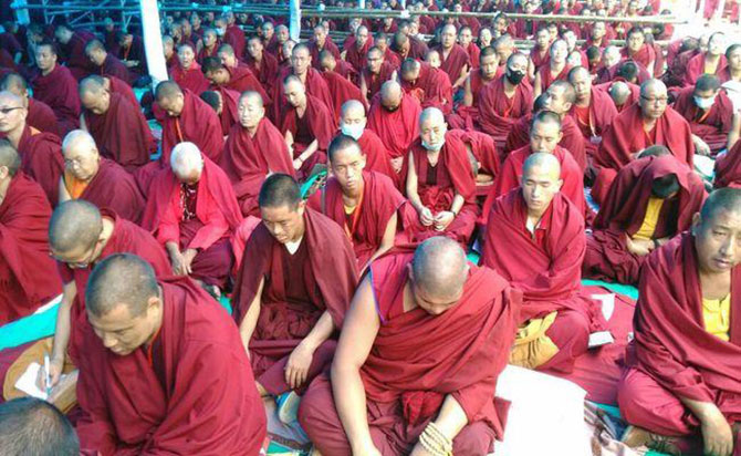 50,000 pre-registered attendees were permitted inside the premises where the Dalai Lama delivered his prayers.