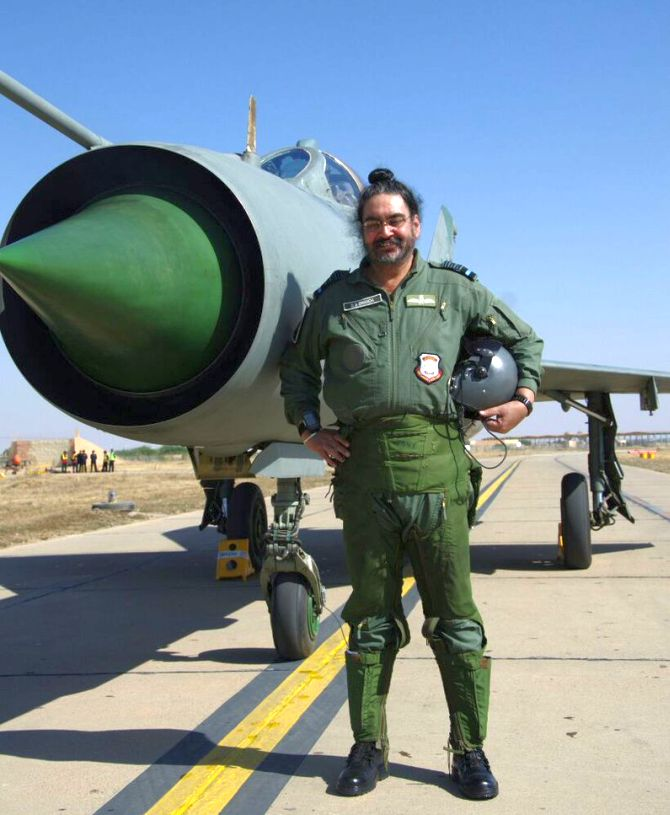 Air Chief Marshal B S Dhanoa before his solo MiG-21 flight, January 13, 2017.