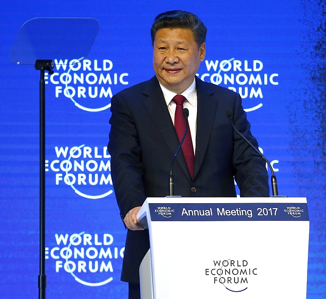 Chinese President Xi Jinping addresses the World Economic Forum in Davos, January 17, 2017. Photograph: Ruben Sprich/Reuters