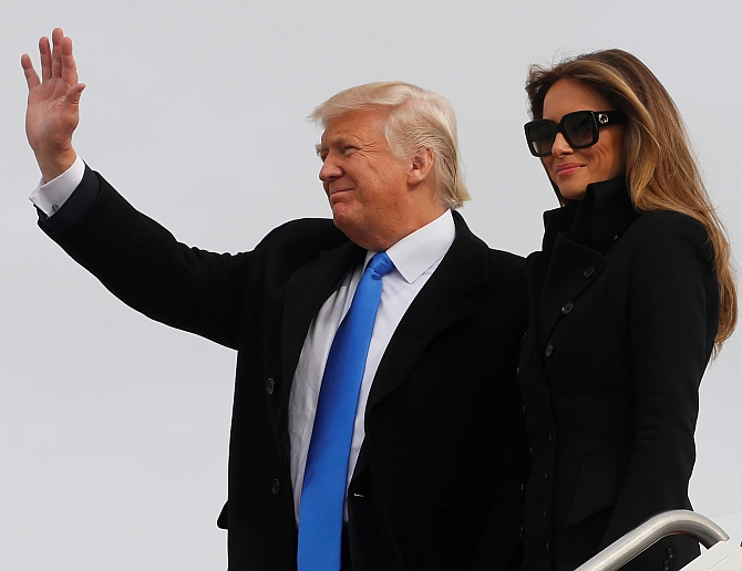 United States President Donald Trump with his wife Melania