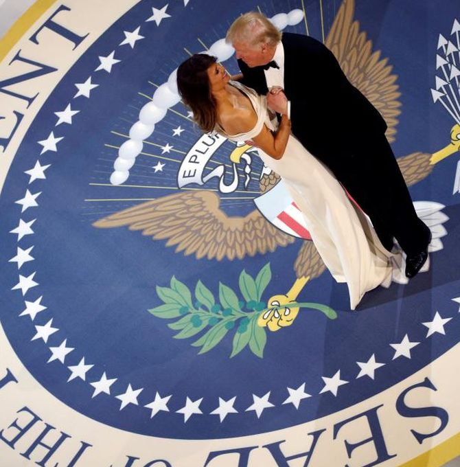 India News - Latest World & Political News - Current News Headlines in India - PHOTOS: US President Trump, wife Melania have a 'ball' of a time