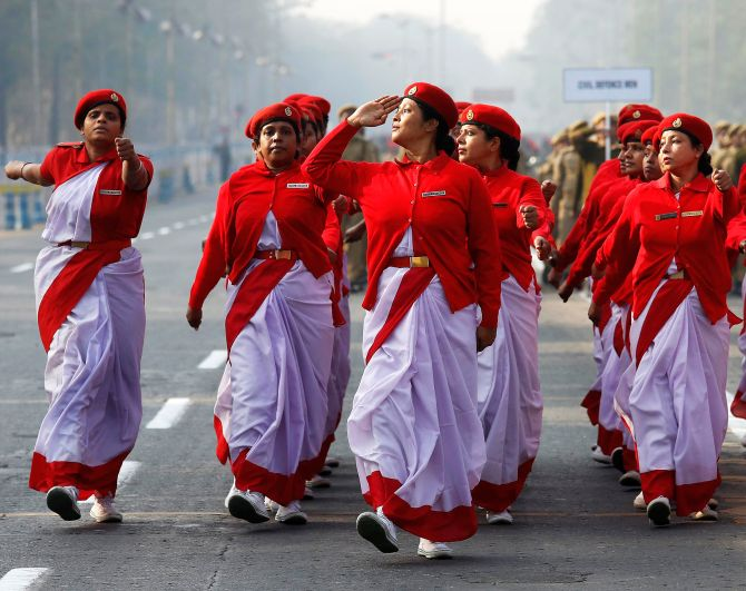 Civil defence personnel march during a full-dress rehearsal for the Republic Day parade in Kolkata, January 2017. Photograph: Rupak De Chowdhuri/Reuters