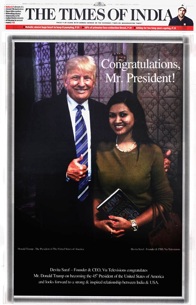 Devita Saraf's front page advertisement on the day of Donald Trump's inauguration