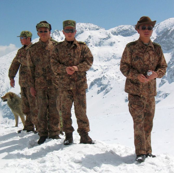 Chinese troops on the India-China border in the Sikkim sector.
