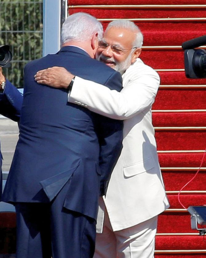 Modi begins groundbreaking visit netanyahu says historic image pm modi and his israeli counterpart benjamin netanyahu are all smiles as they greet each other at the airport netanyahu has broken protocol to m4hsunfo