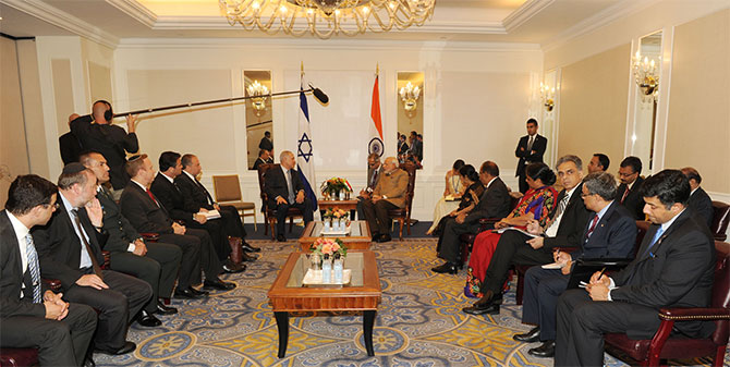 Prime Minister Narendra Modi meets Israeli Prime Minister Benjamin Netanyahu in New York, September 28, 2014, the encounter led to closer ties between the two nations. Photograph: Press Information Bureau