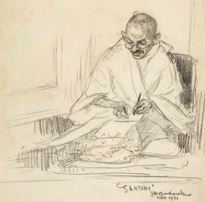 Image the pencil sketch was drawn when mahatma gandhi was visiting london for the round table conference in 1931 photograph pti photo