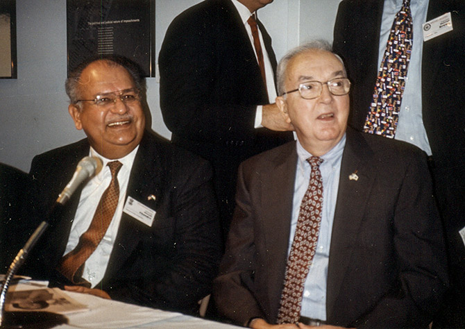 Naresh Chandra, left, with US Senator Jesse Helms