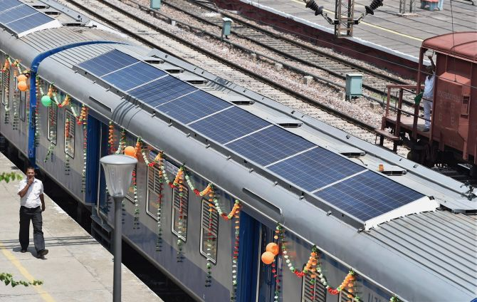 India Gets Its First Solar Powered Train Rediff Com Business
