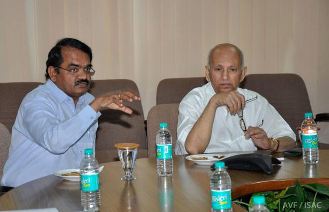 Professor U R Rao, right, at a visit to the ISRO Satellite Centre, Bengaluru