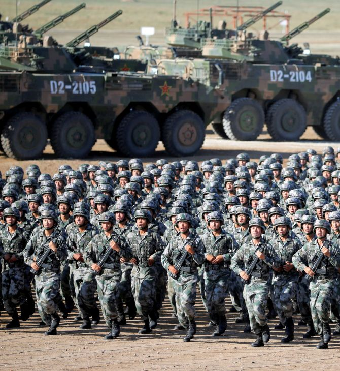 People's Liberation Army troops get ready for the military parade to commemorate the PLA's 90th anniversary at the Zhurihe military training base in the Inner Mongolia Autonomous Region, China, July 2017. Photograph: China Daily/Reuters