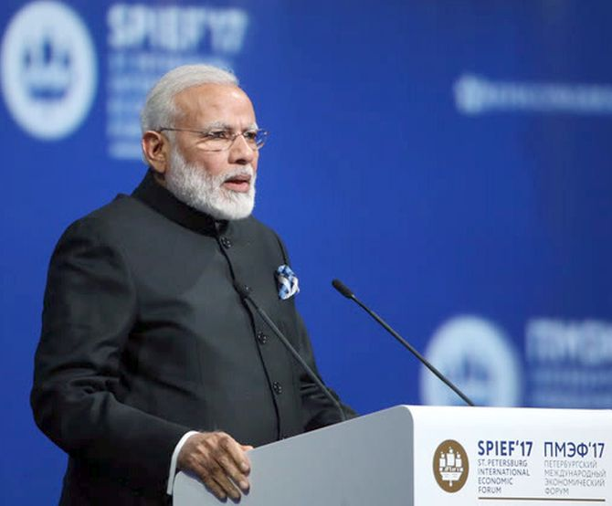 Prime Minister Narendra Modi at the World Economic Forum in St Peteresburg