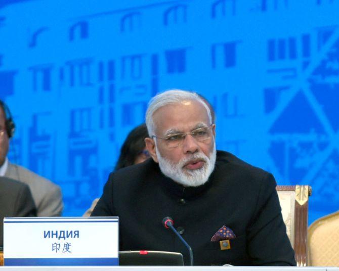 Prime Minister Narendra D Modi addresses the Shanghai Cooperation Organisation summit, June 2017.