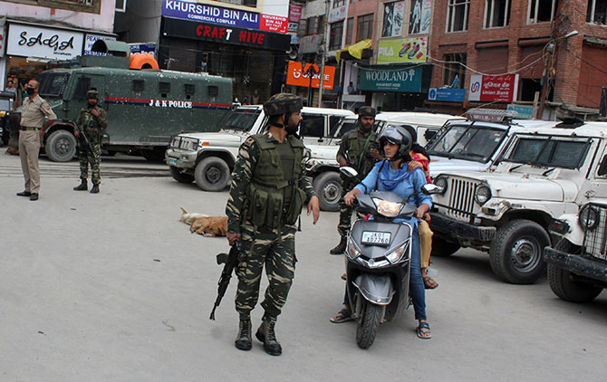 Soldiers at Lal Chowk in Kashmir