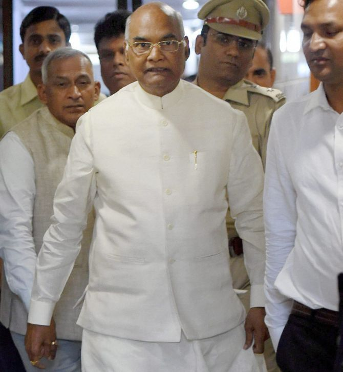 Bihar Governor Ram Nath Kovind -- the National Democratic Alliance candidate for the Presidency -- arrives at Bihar Niwas in New Delhi, June 20, 2017