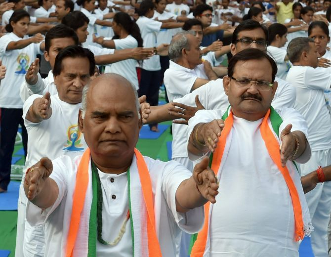 Ram Nath Kovind. the National Democratic Alliance's Presidential candidate, at an International Yoga Day event in New Delhi, June 21, 2017. Photograph: Atul Yadav/PTI Photo