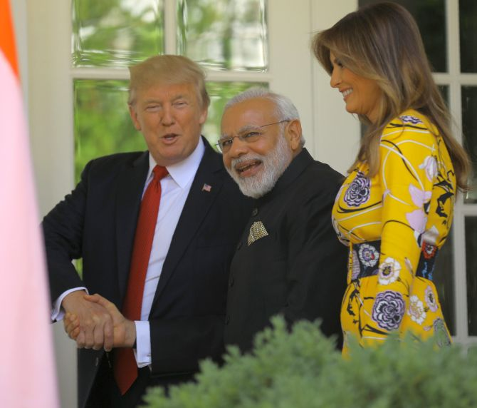 Modi, Trump and Melania at the White House