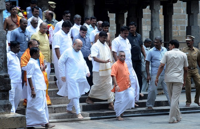 Bharatiya Janata Party President Amit A Shah at the Arunachaleswarar temple in Thiruvannamalai on June 27, 2017 during a visit to Tamil Nadu. Photograph: PTI Photo