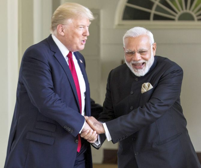 Prime Minister Narendra D Modi with United States President Donald J Trump at the White House, June 2017.
