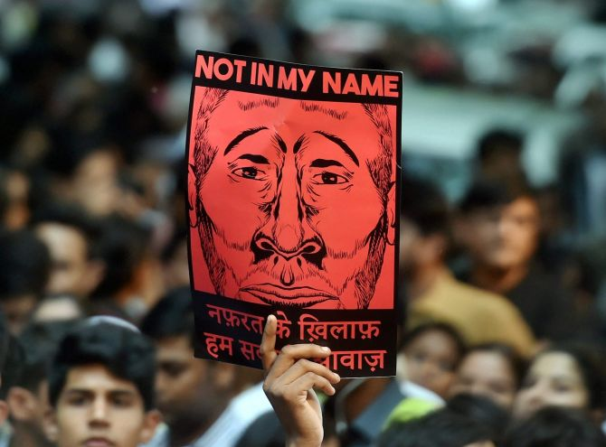 The silent 'Not in My Name' protest against the lynchings across India, at Jantar Mantar, New Delhi, June 28, 2017. Photograph: Shahbaz Khan/PTI Photo