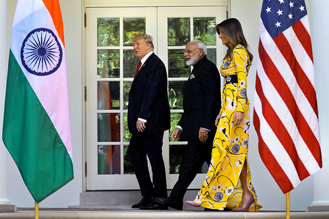 Prime Minister Narendra Modi with US President Donald Trump and First Lady Melania Trump at the White House, June 26, 2017. Photograph: Carlos Barria/Reuters